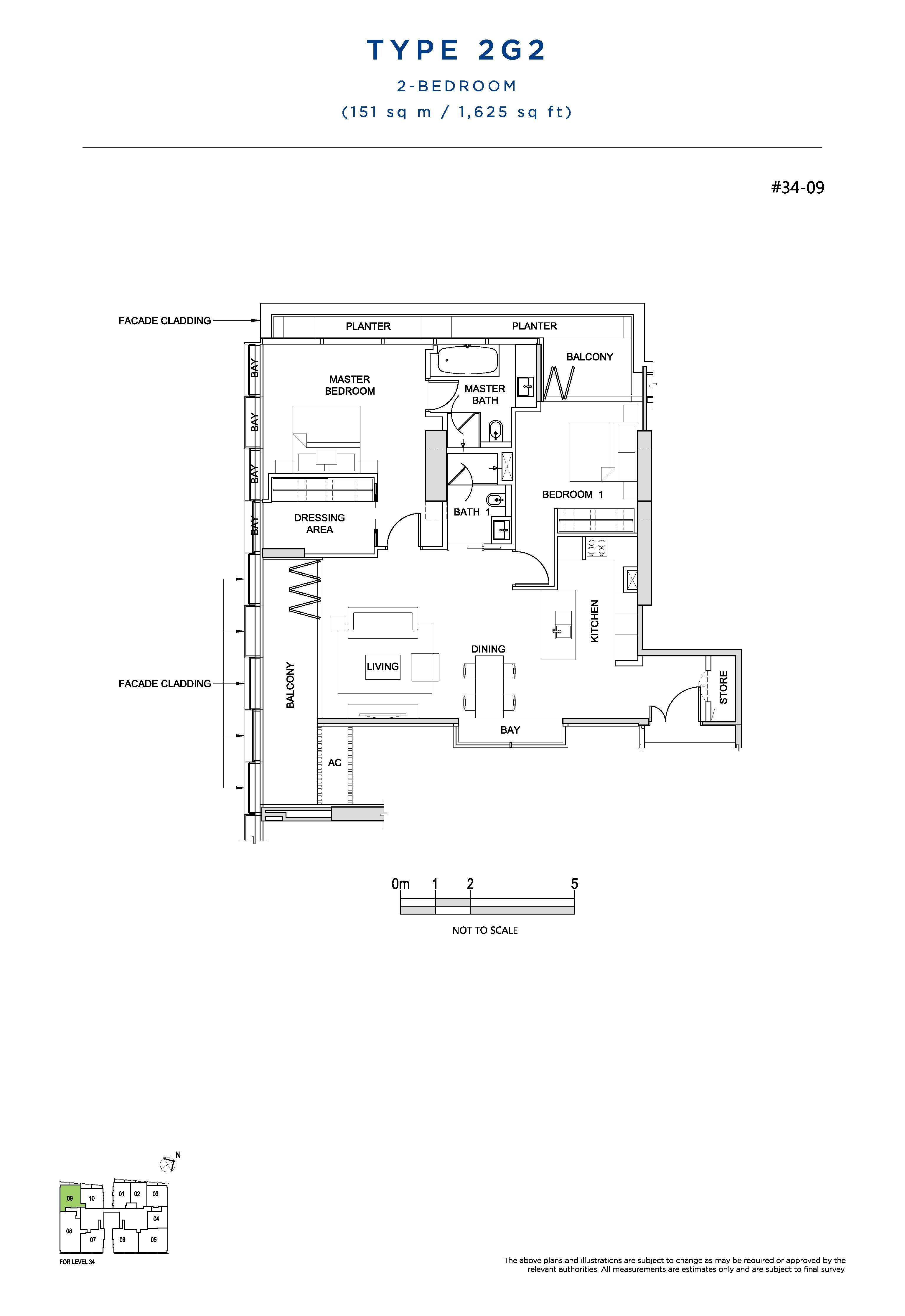 South Beach Residences 2 Bedroom Floor Plans Type 2G2
