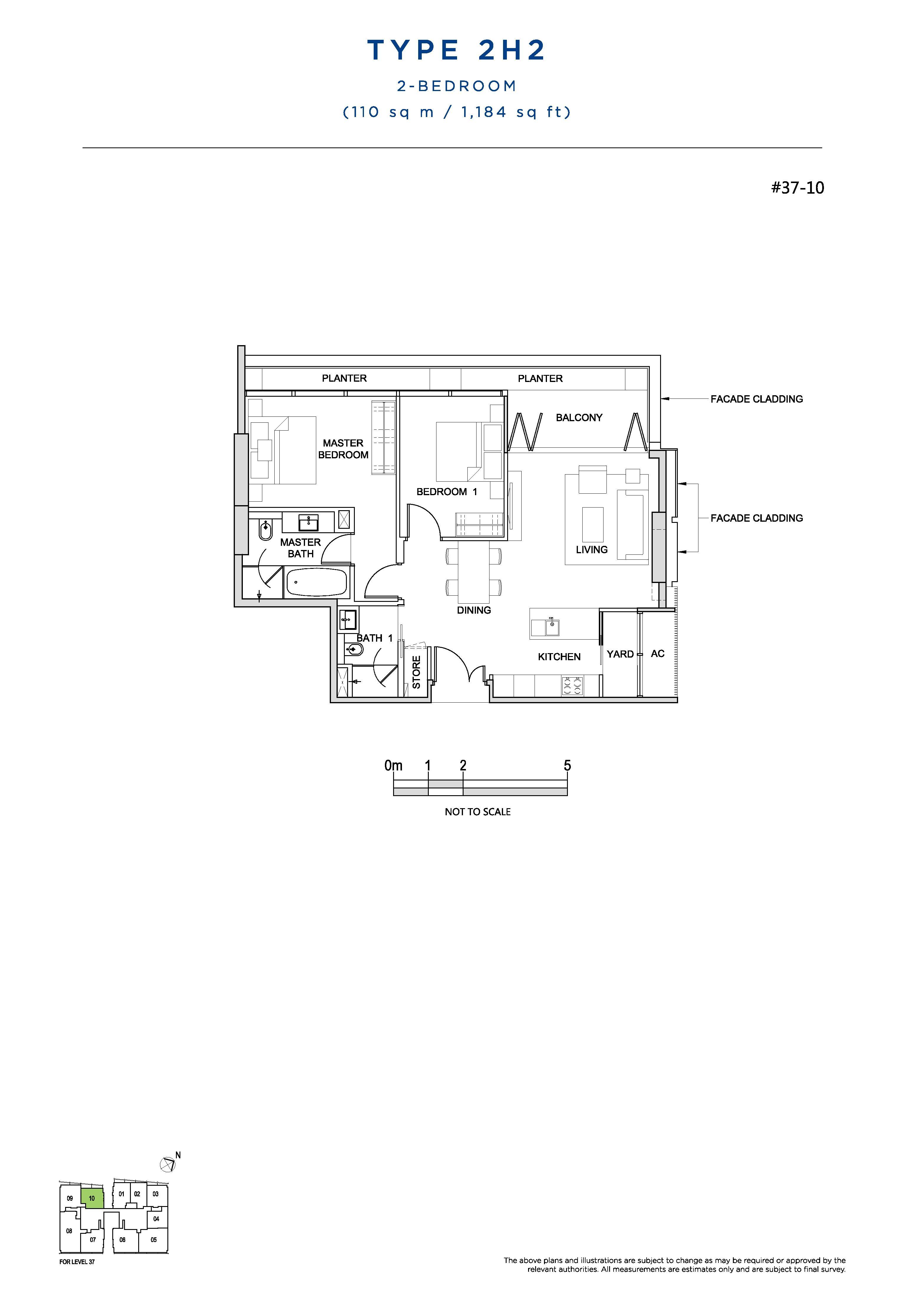 South Beach Residences 2 Bedroom Floor Plans Type 2H2