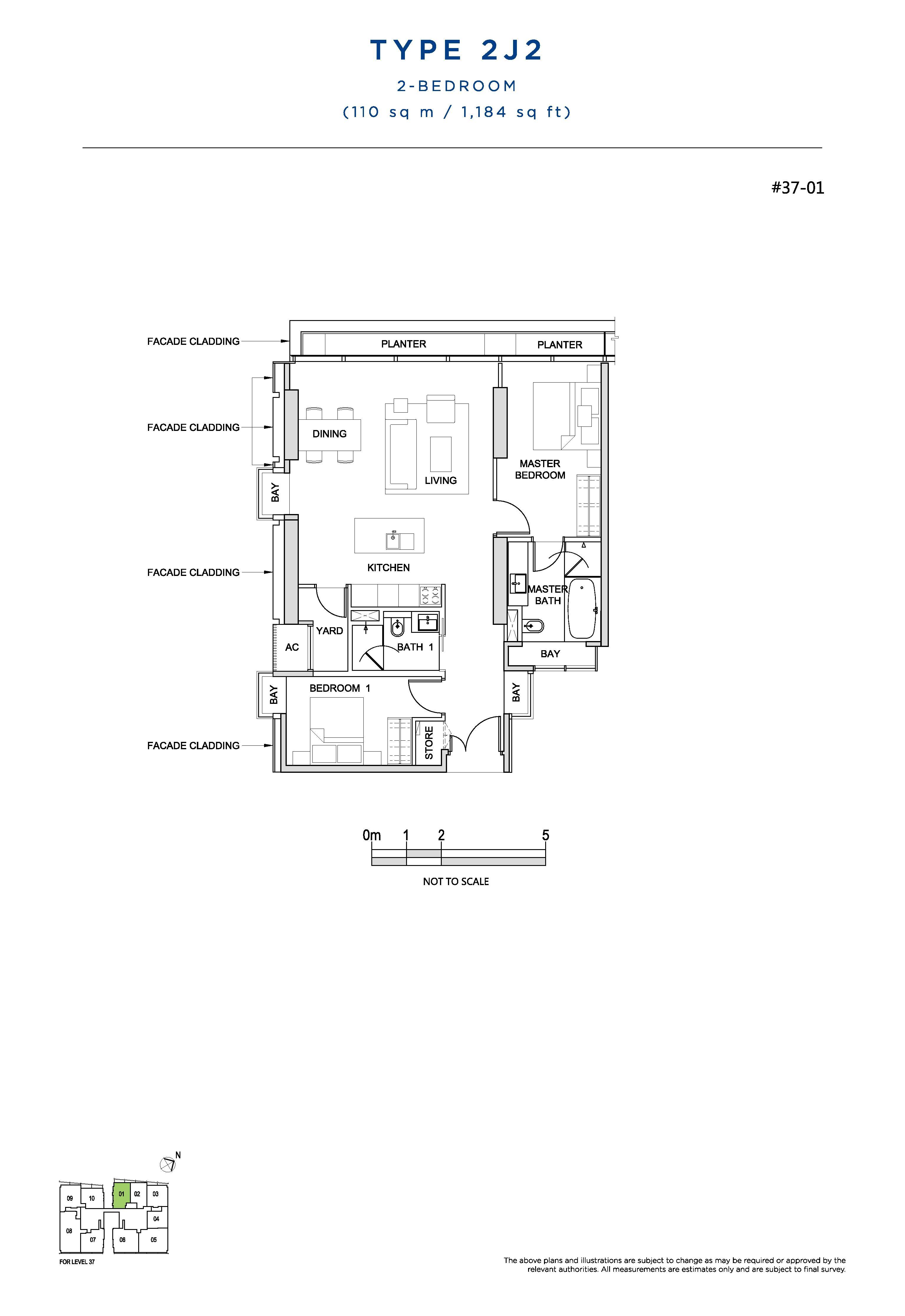 South Beach Residences 2 Bedroom Floor Plans Type 2J2