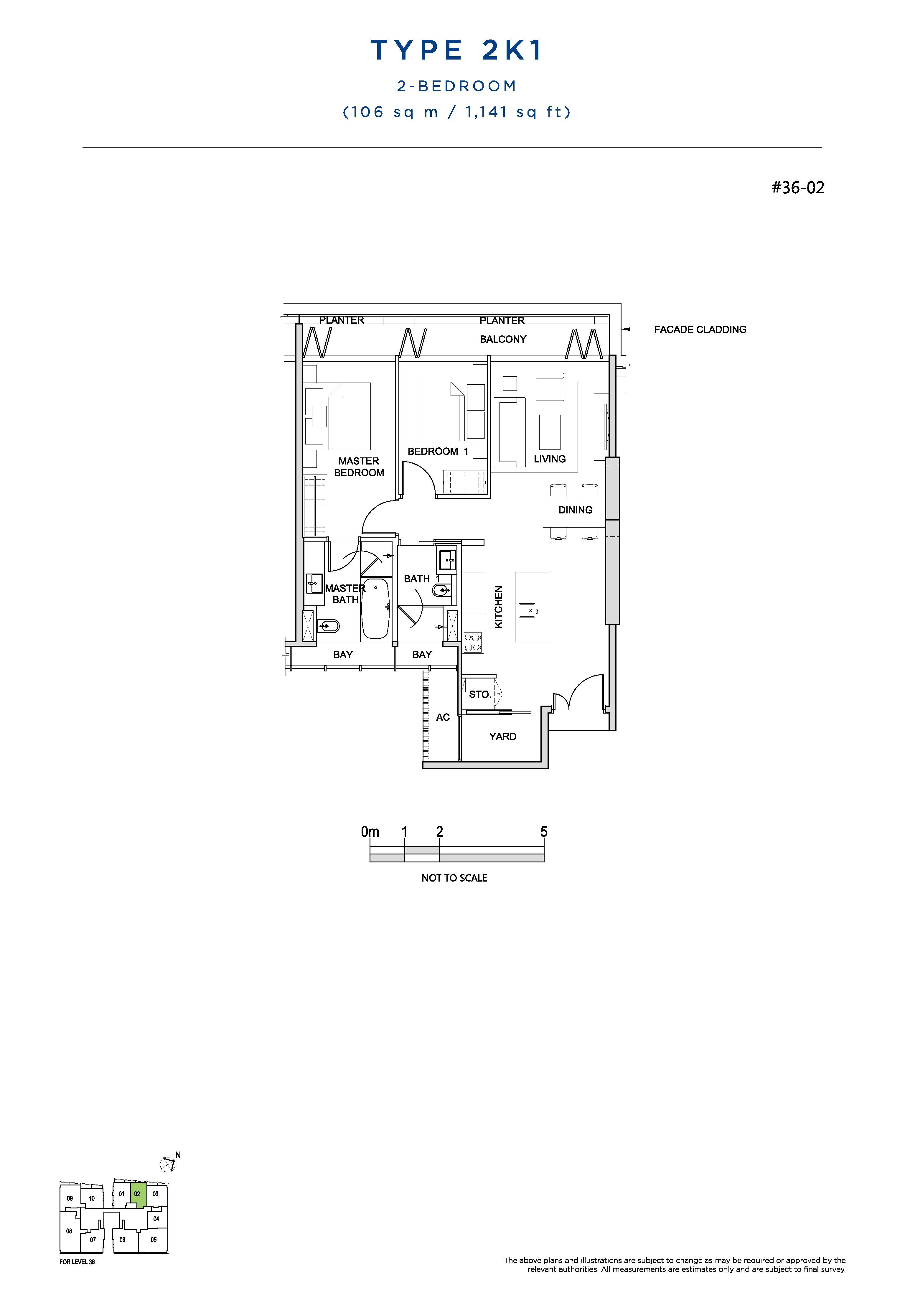 South Beach Residences 2 Bedroom Floor Plans Type 2K1