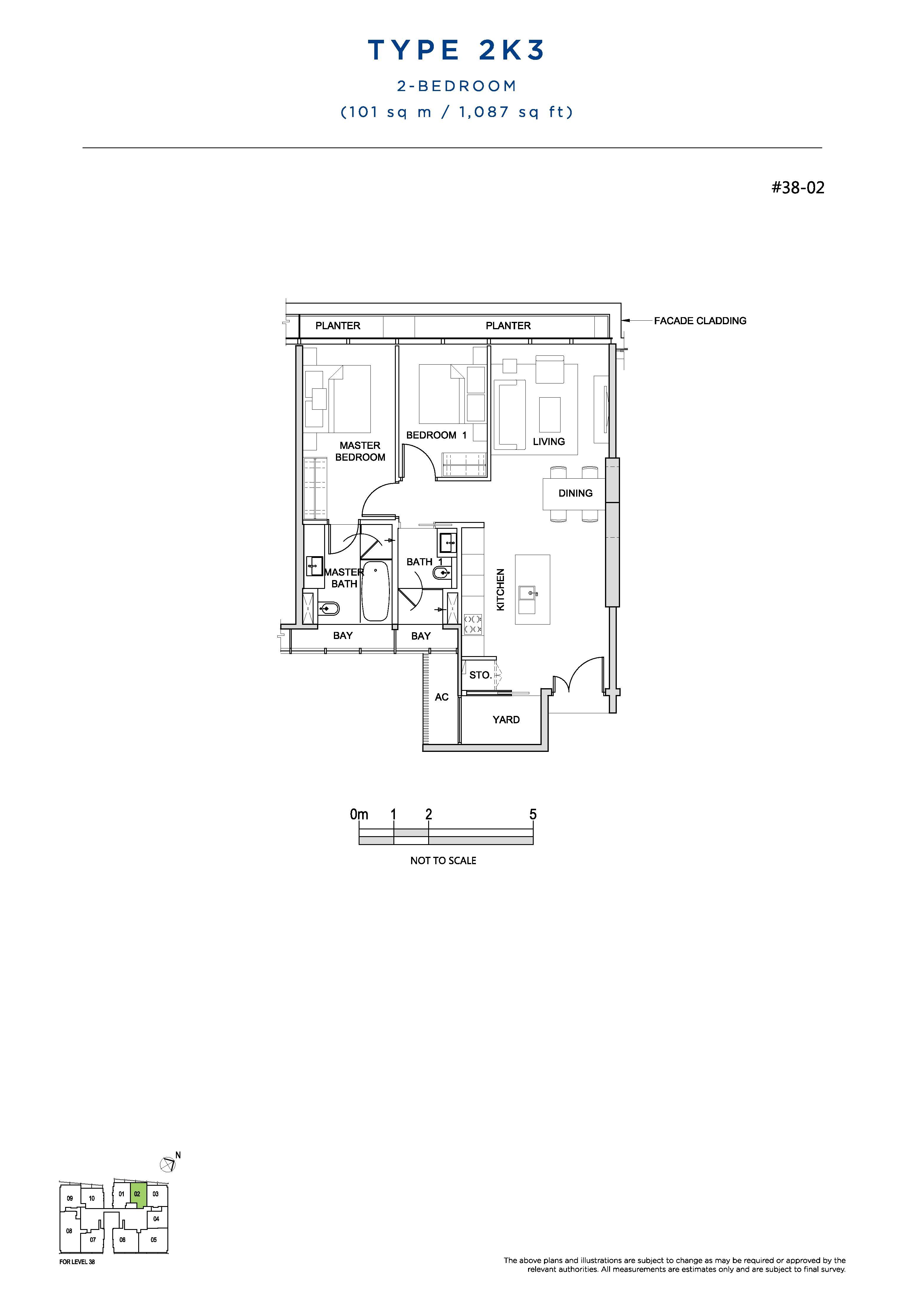 South Beach Residences 2 Bedroom Floor Plans Type 2K3