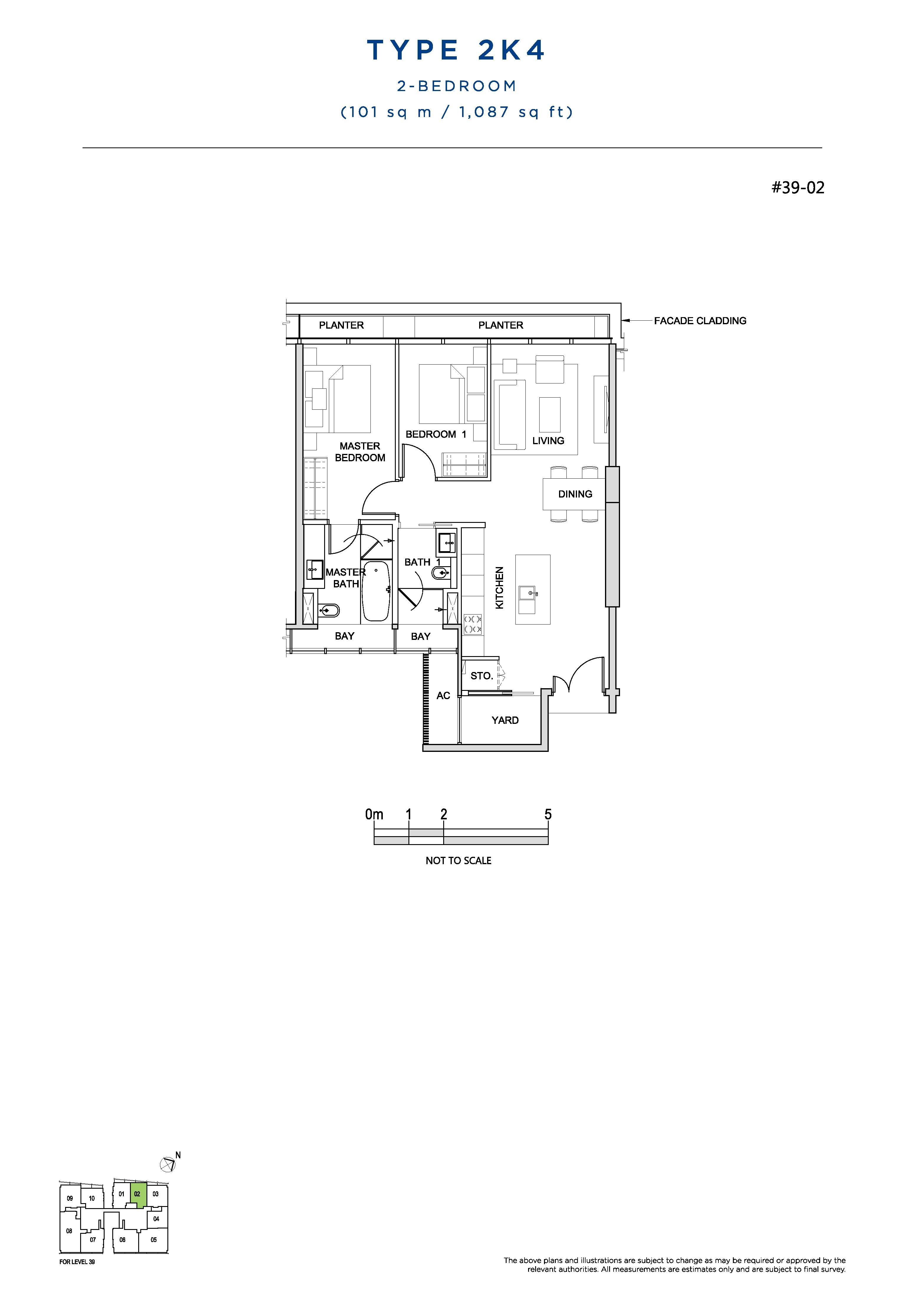 South Beach Residences 2 Bedroom Floor Plans Type 2K4