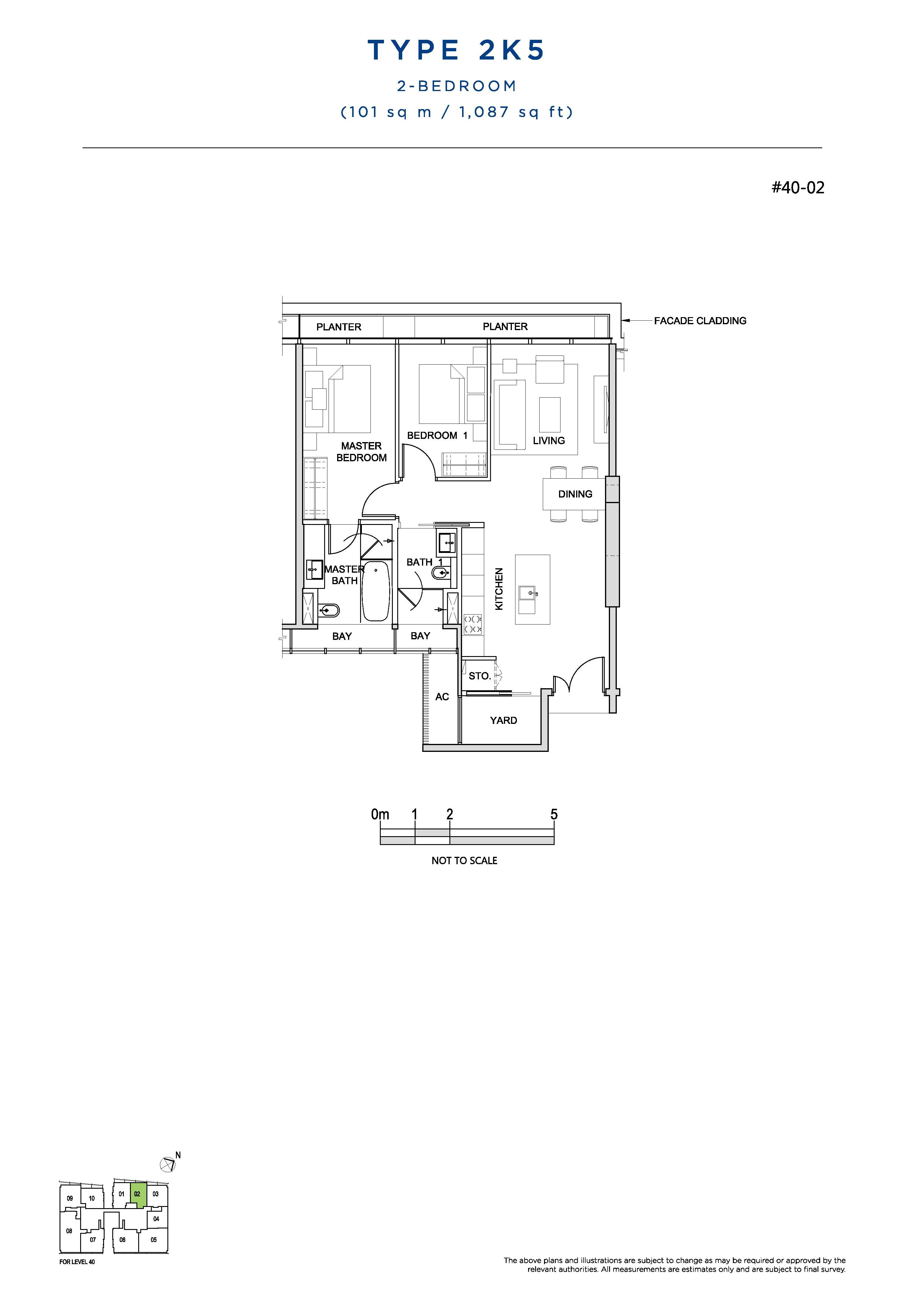 South Beach Residences 2 Bedroom Floor Plans Type 2K5