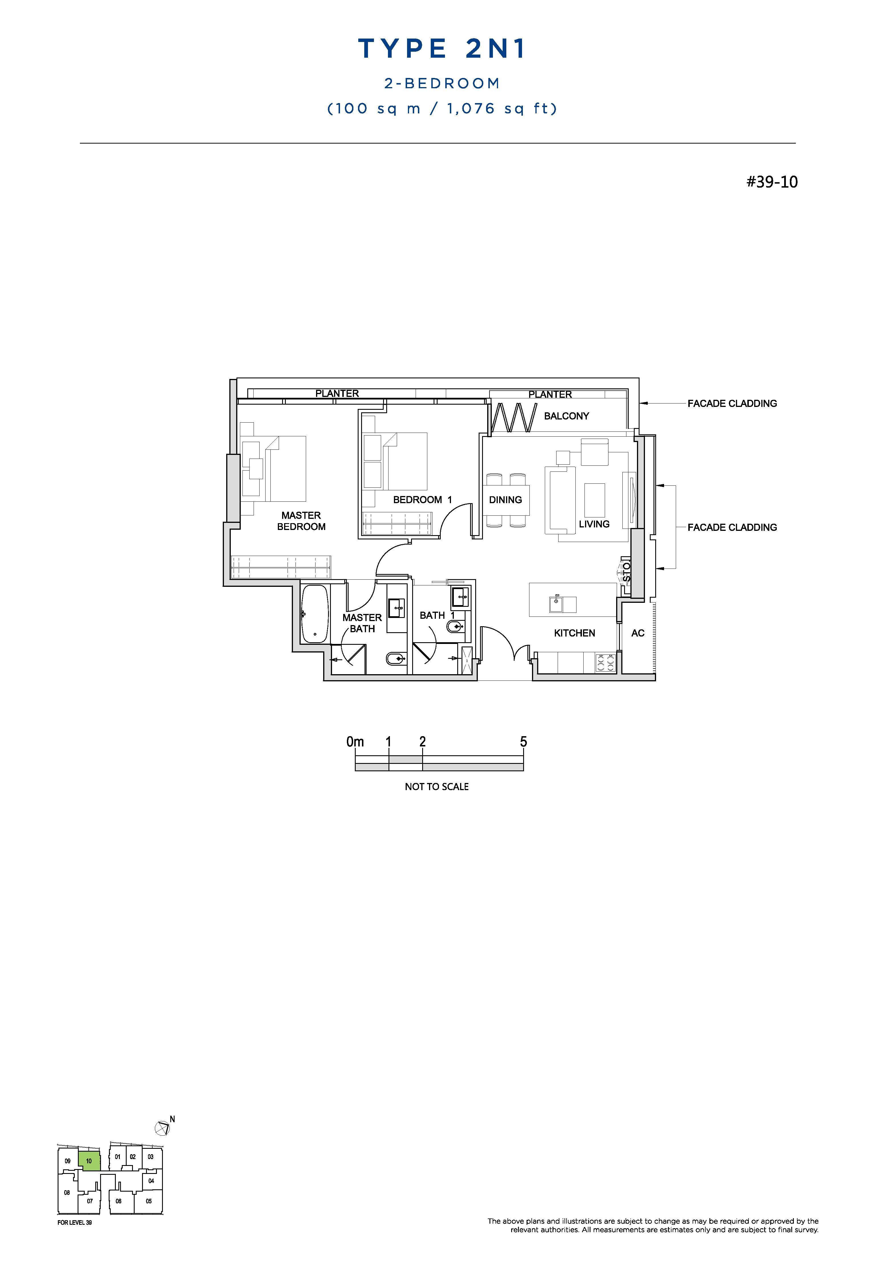 South Beach Residences 2 Bedroom Floor Plans Type 2N1
