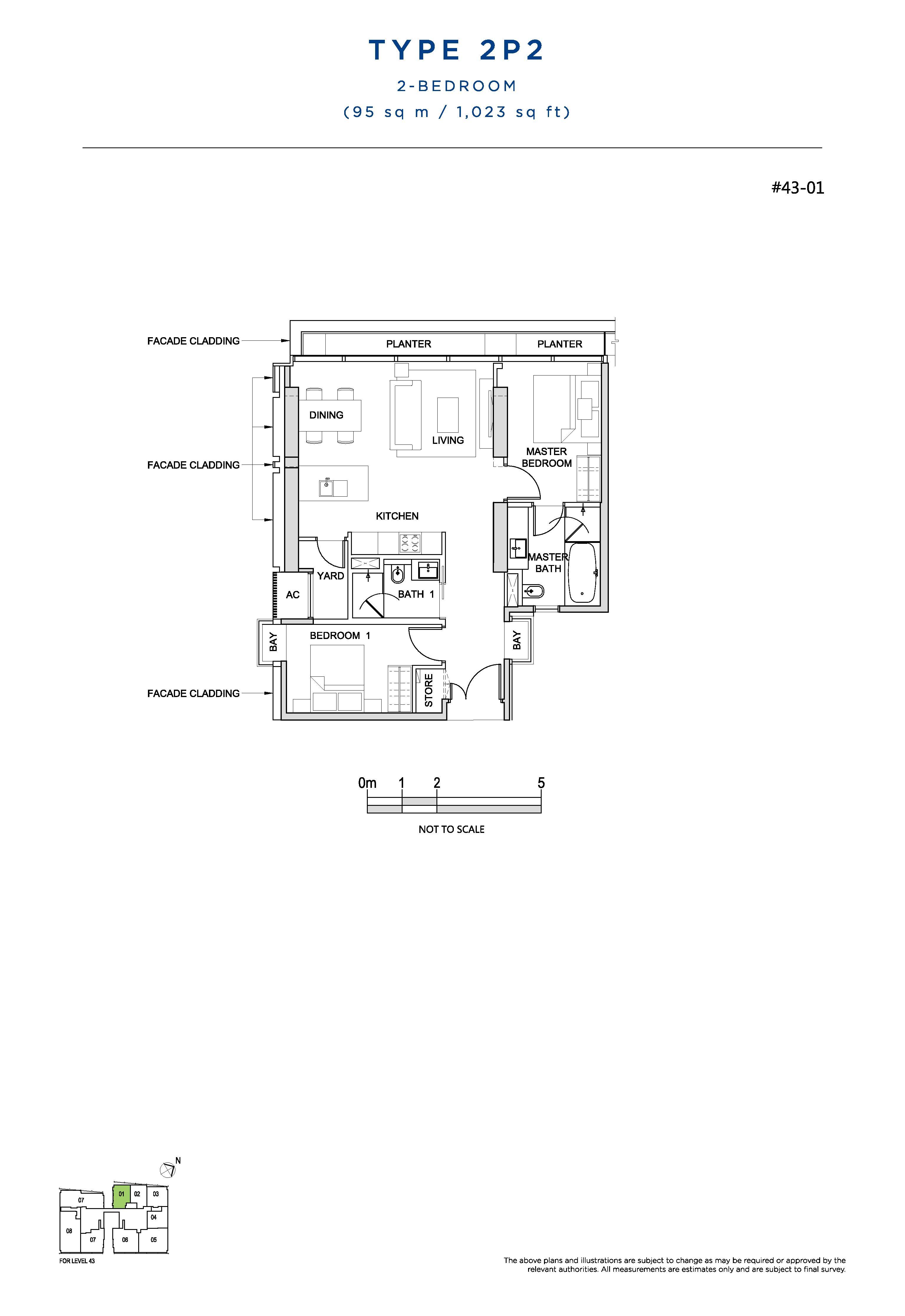 South Beach Residences 2 Bedroom Floor Plans Type 2P2
