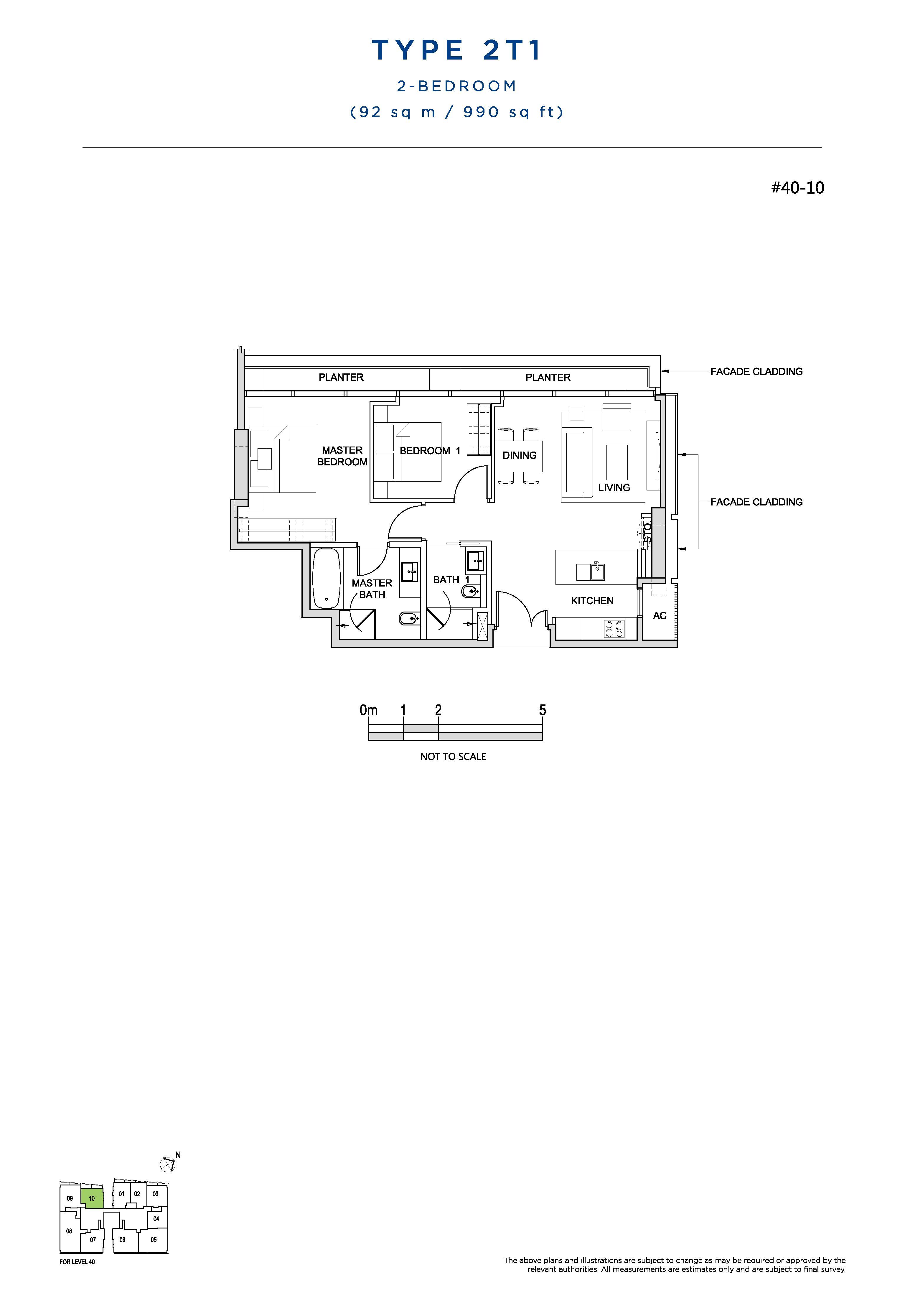 South Beach Residences 2 Bedroom Floor Plans Type 2T1