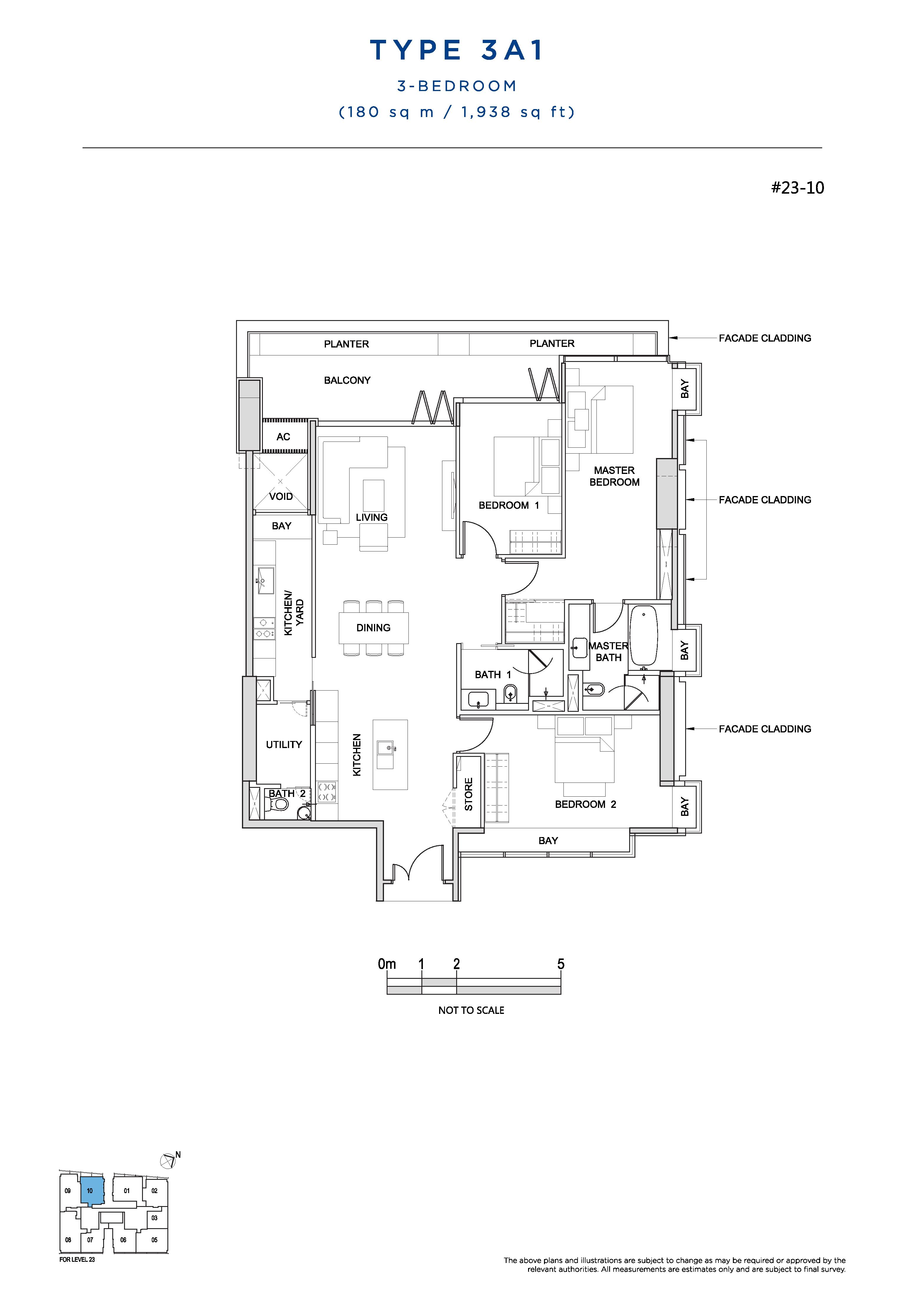 South Beach Residences 3 Bedroom Floor Plans Type 3A1
