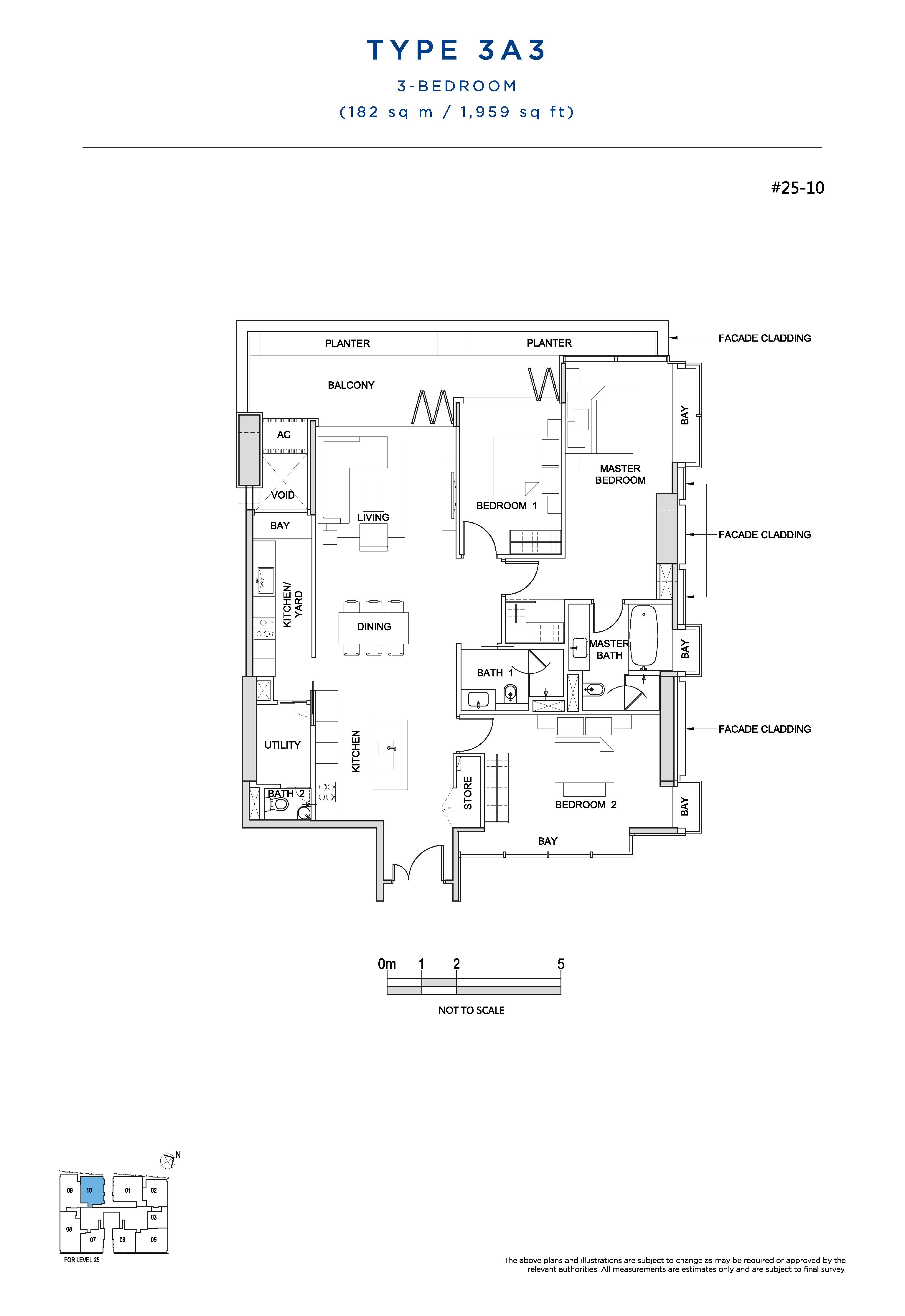 South Beach Residences 3 Bedroom Floor Plans Type 3A3
