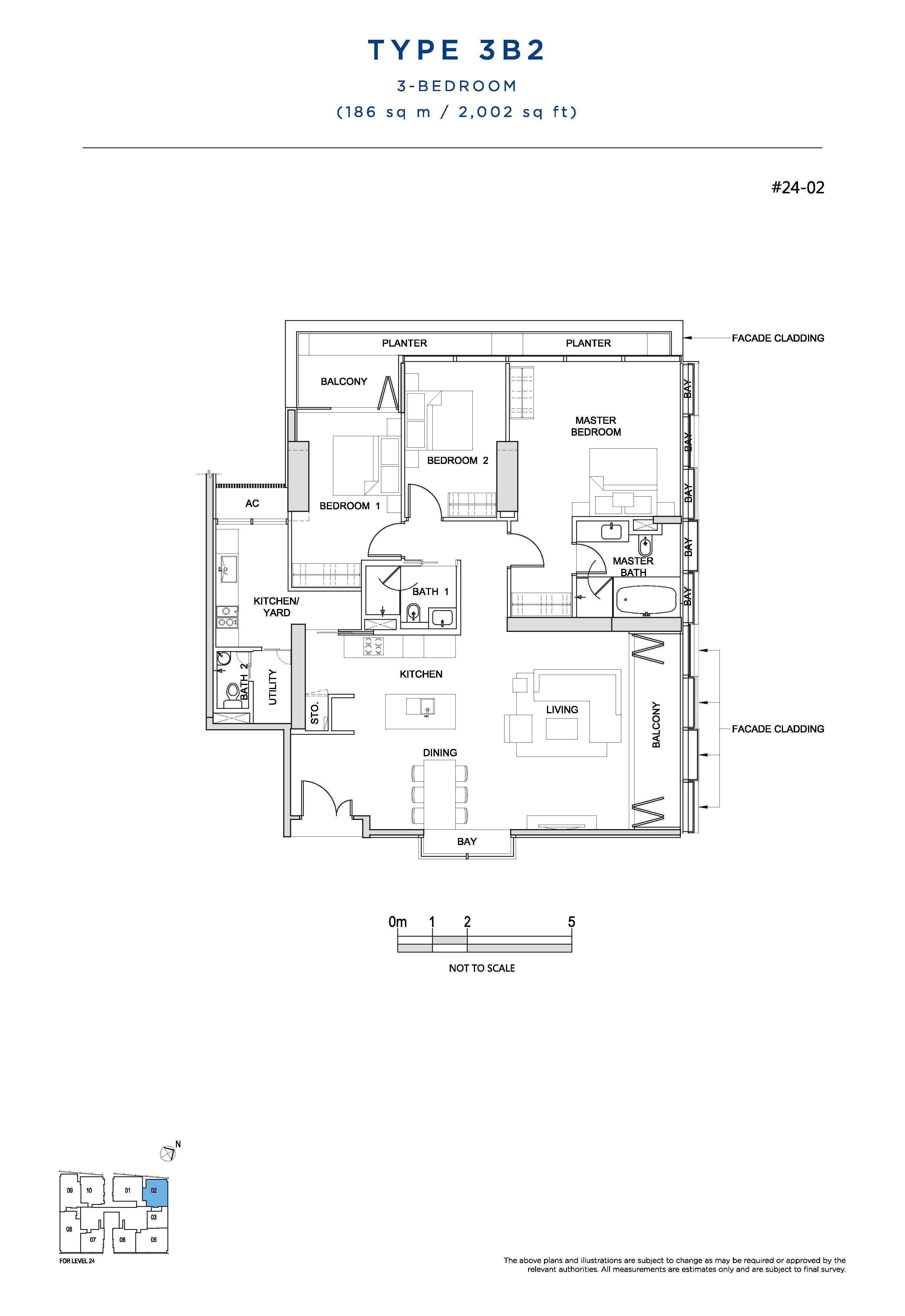 South Beach Residences 3 Bedroom Floor Plans Type 3B2