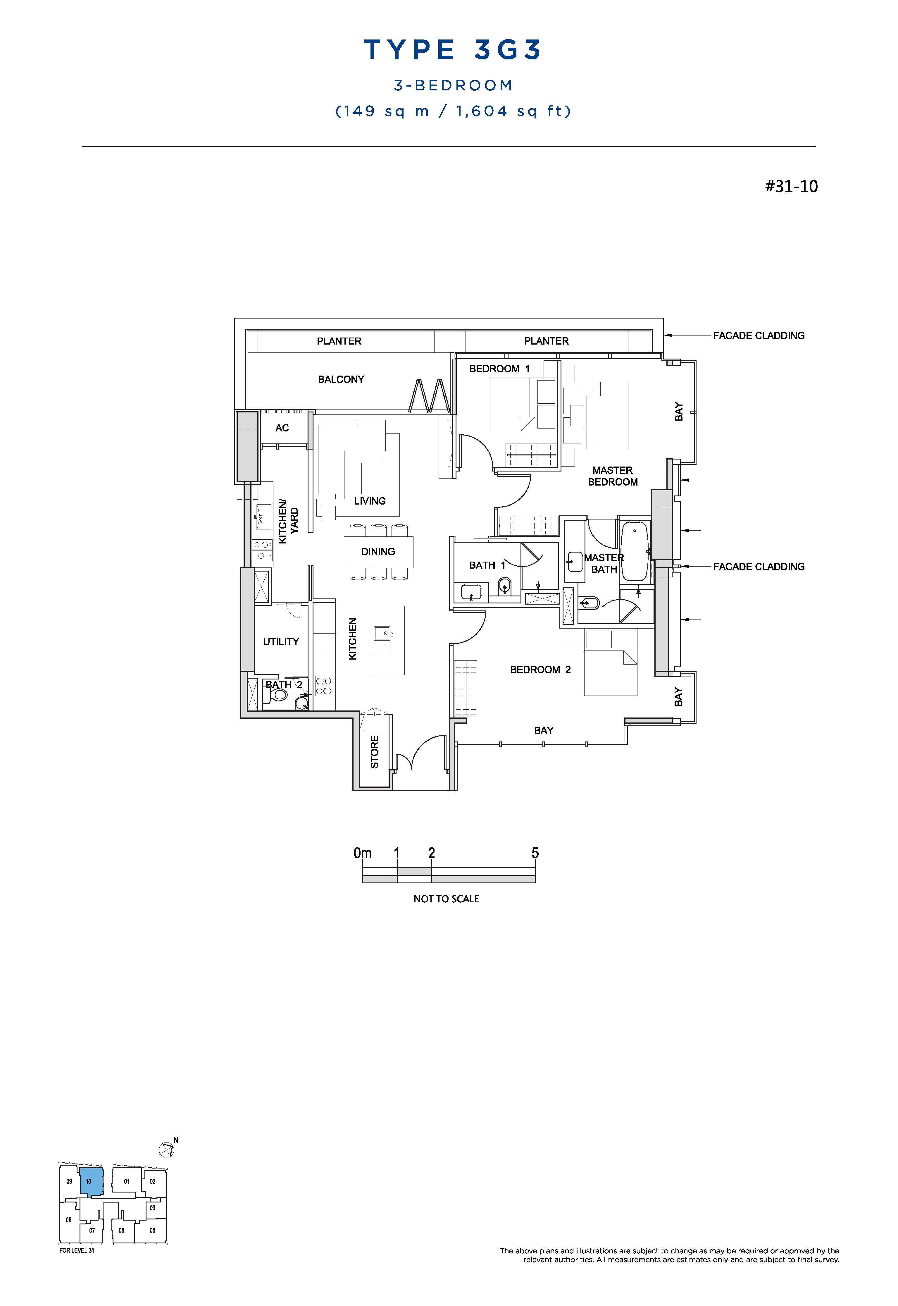 South Beach Residences 3 Bedroom Floor Plans Type 3G3