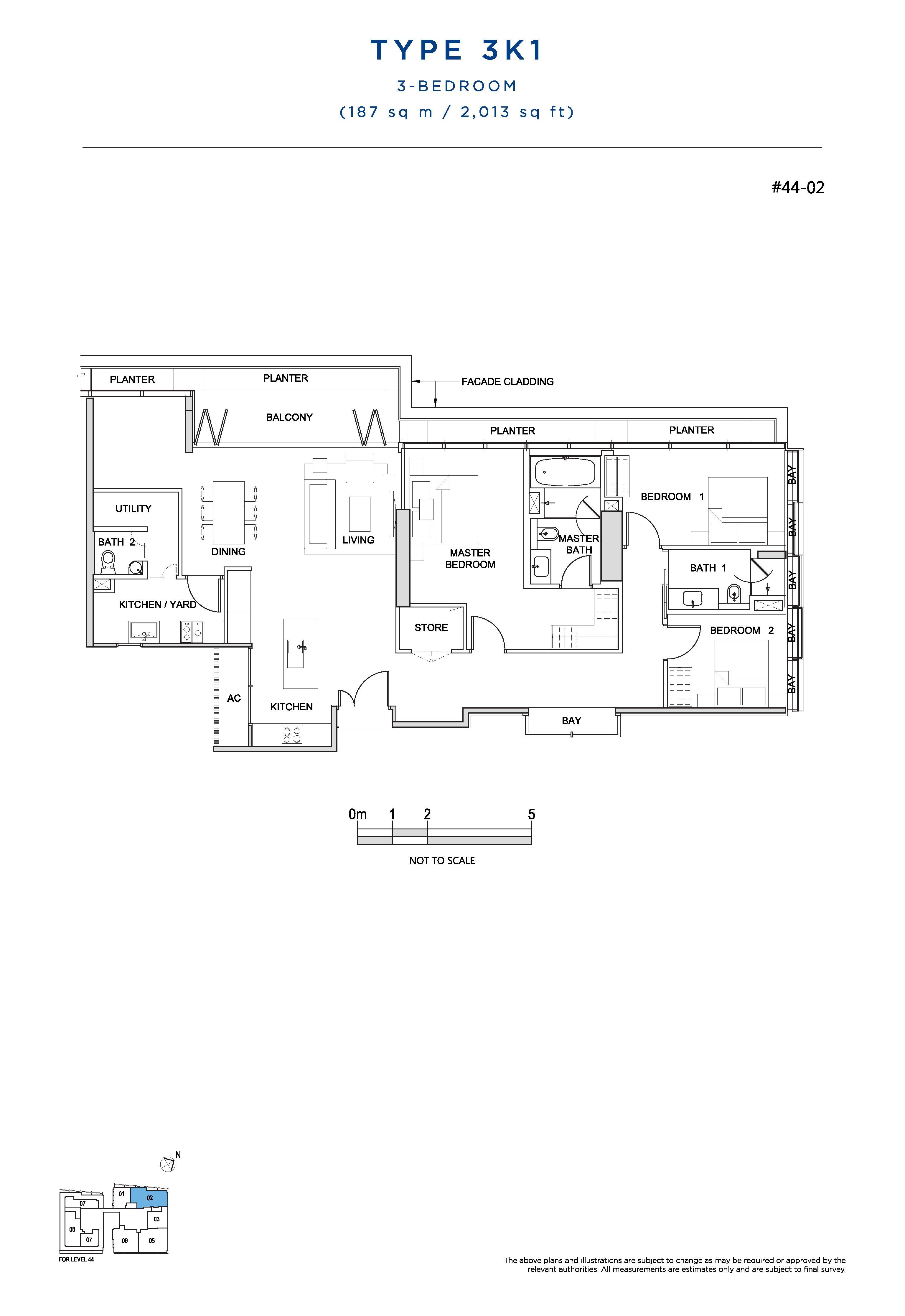 South Beach Residences 3 Bedroom Floor Plans Type 3K1