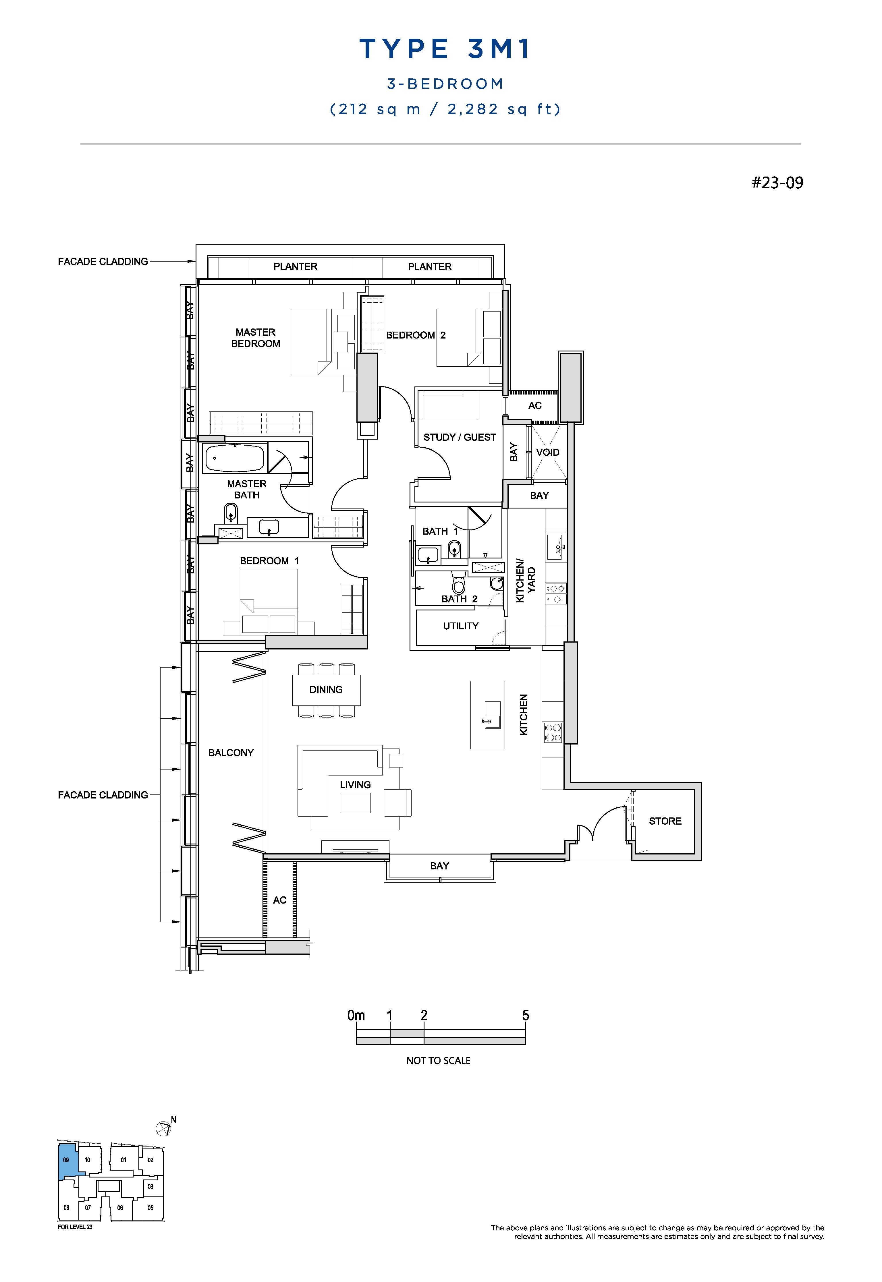 South Beach Residences 3 Bedroom Floor Plans Type 3M1
