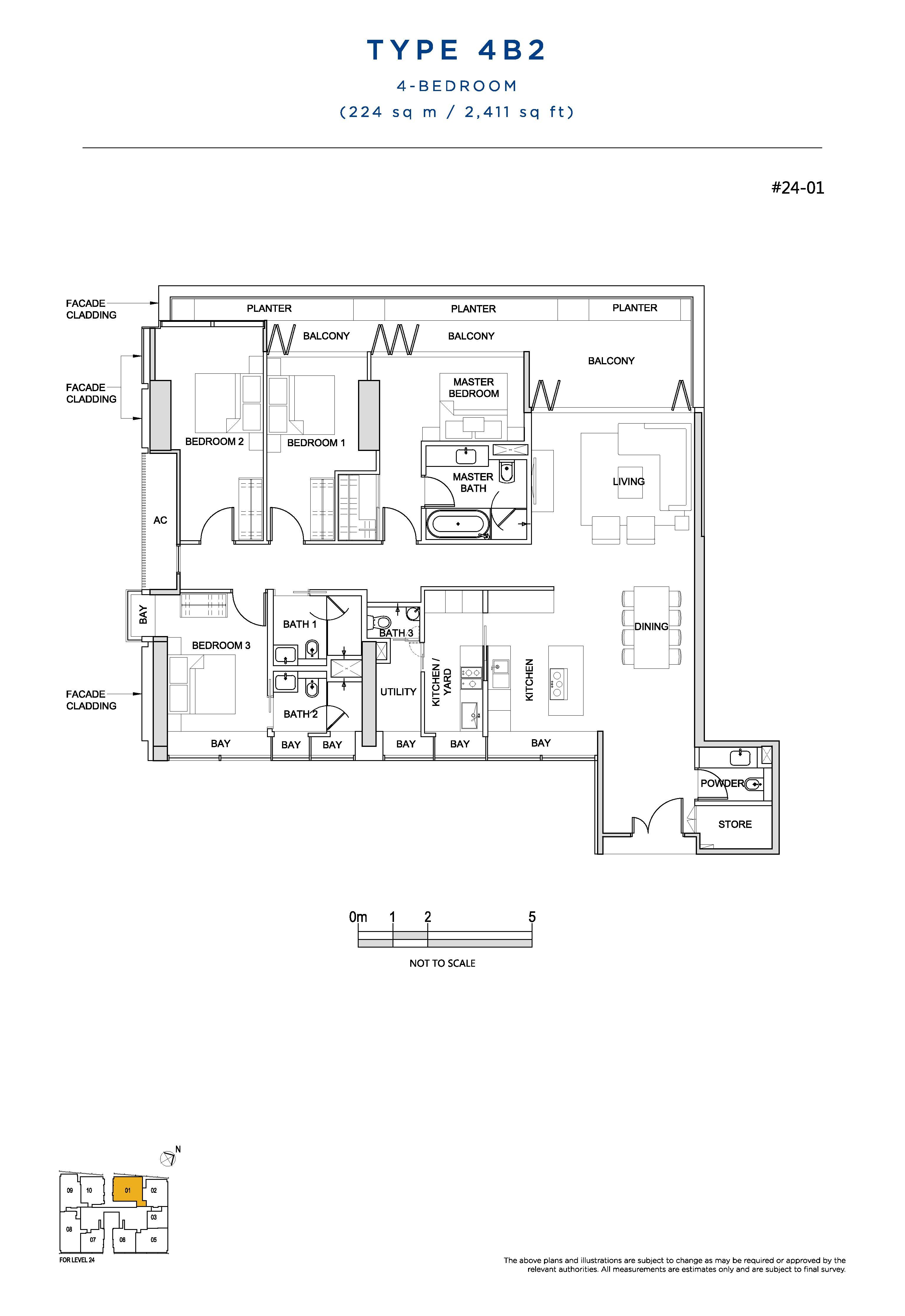 South Beach Residences 4 Bedroom Floor Plans Type 4B2