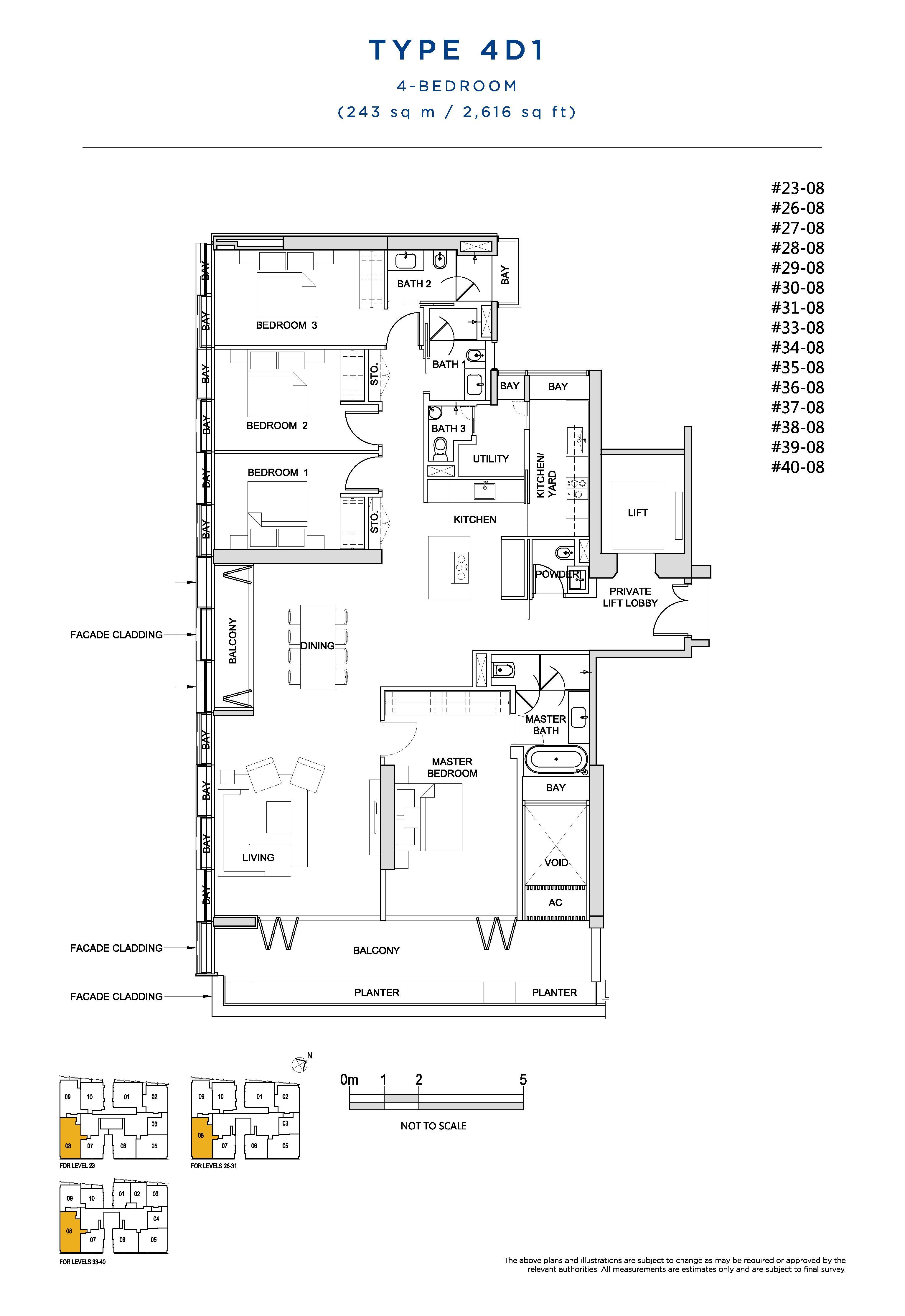 South Beach Residences 4 Bedroom Floor Plans Type 4D1