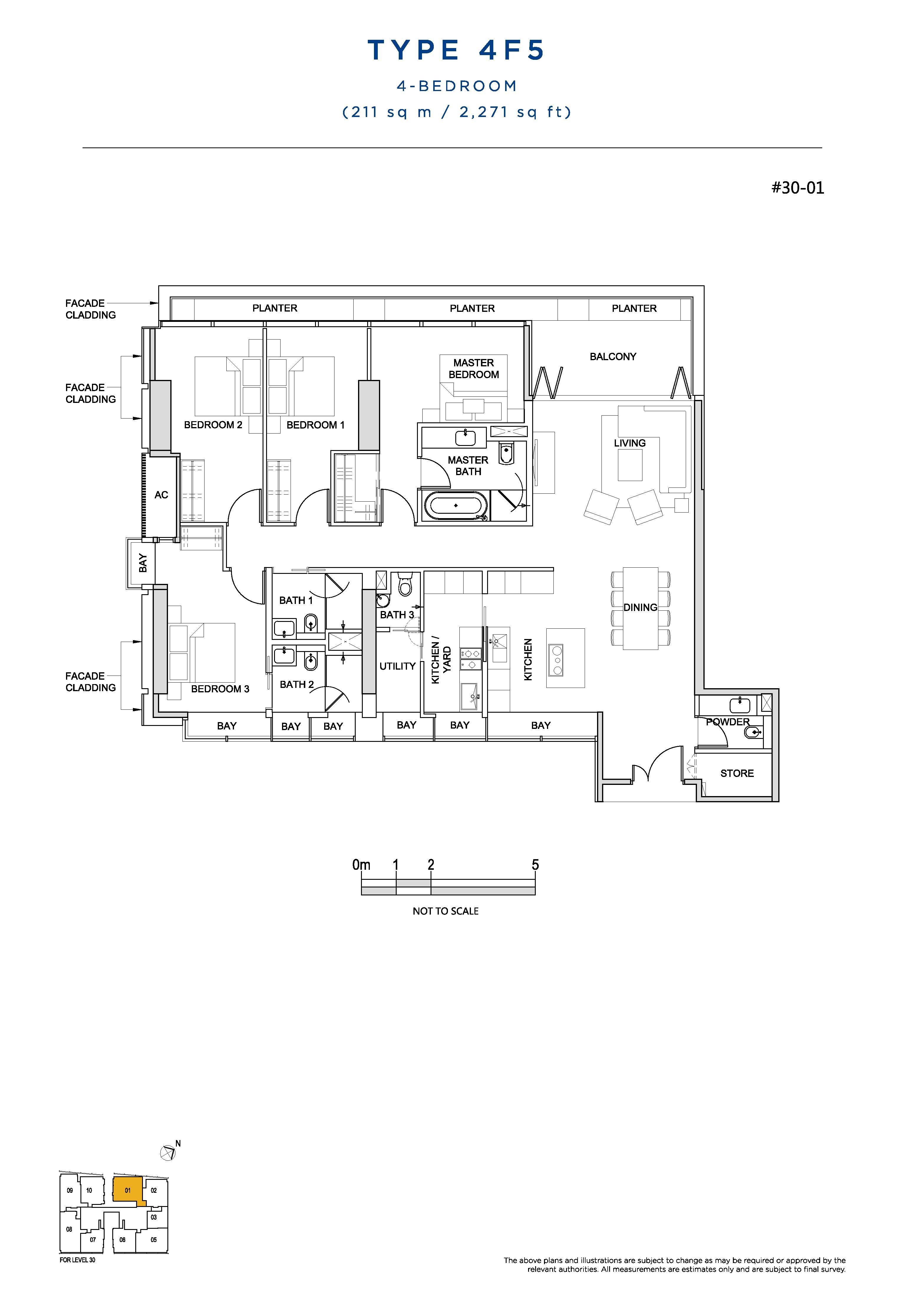 South Beach Residences 4 Bedroom Floor Plans Type 4F5