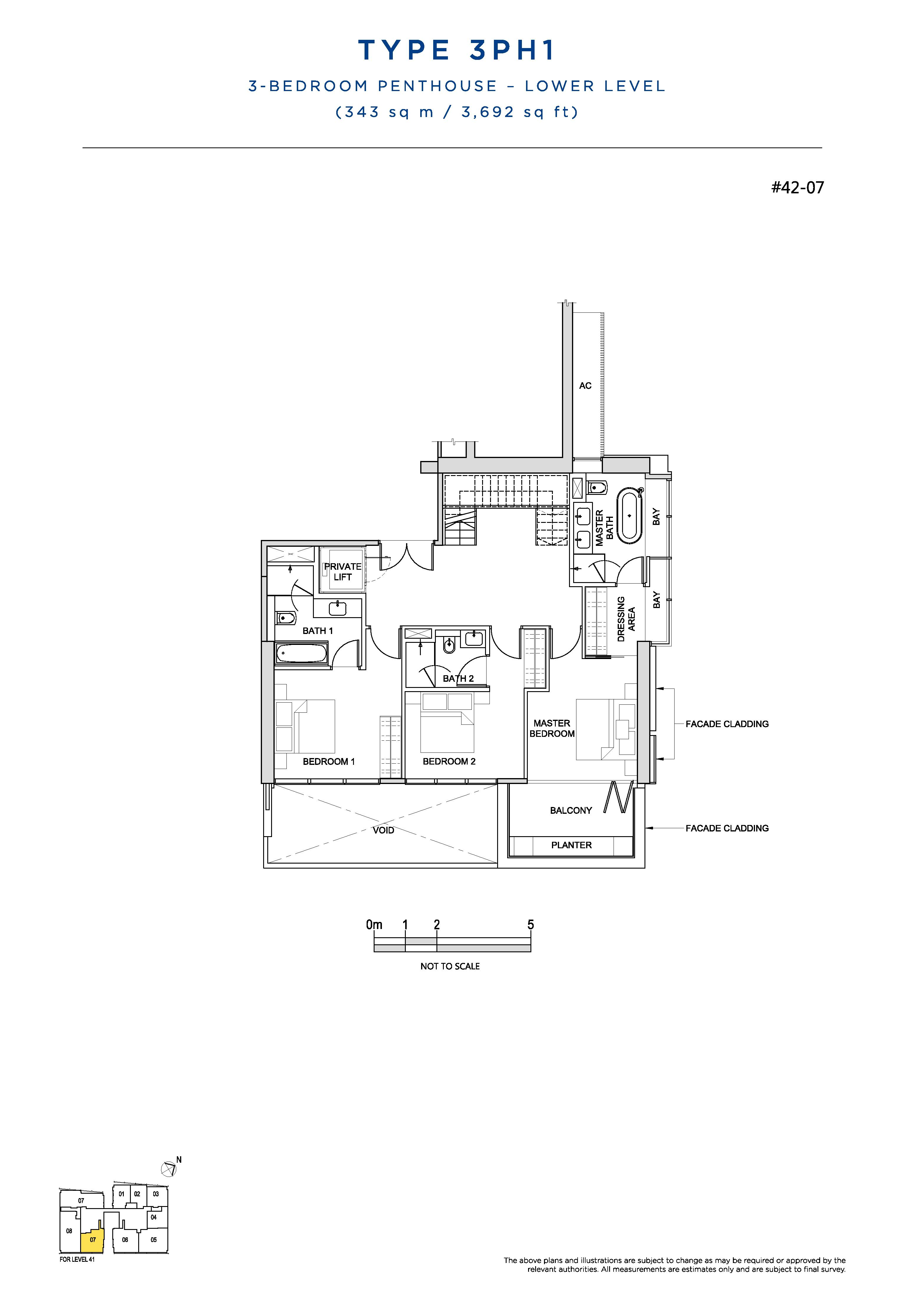 South Beach Residences 3 Bedroom Penthouse Floor Plans Type 3PH1(Lower Level)