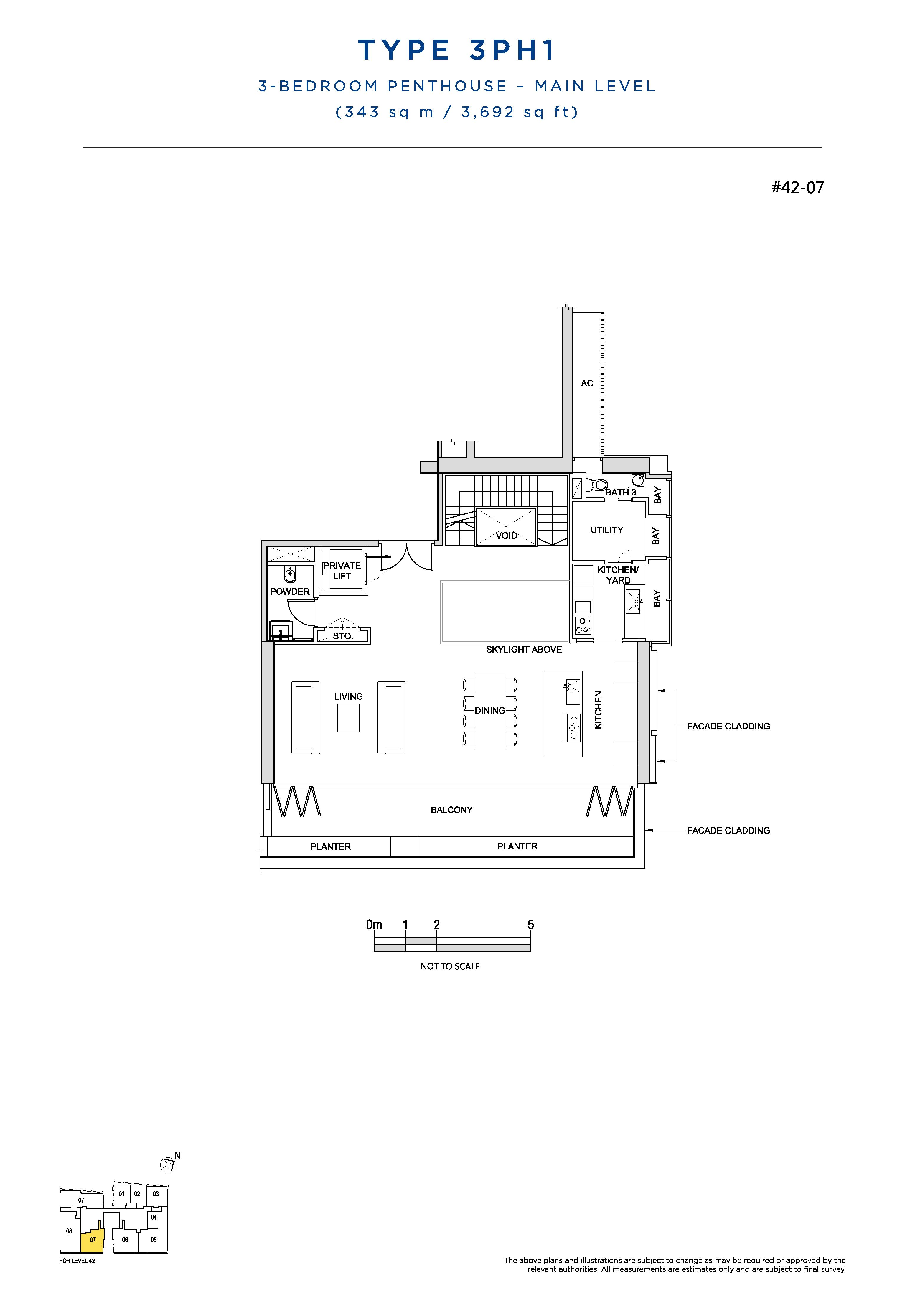 South Beach Residences 3 Bedroom Penthouse Floor Plans Type 3PH1(Main Level)
