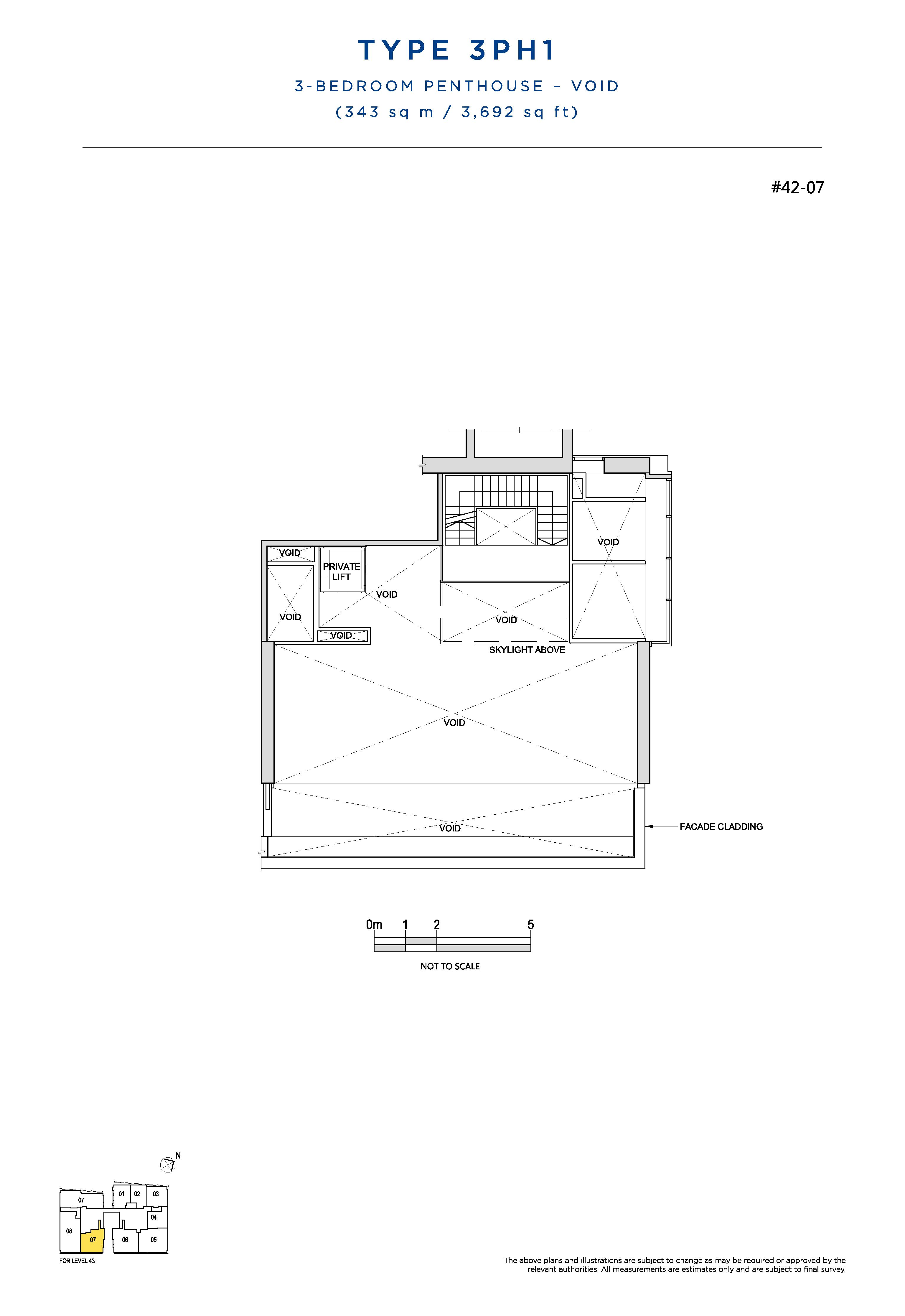 South Beach Residences 3 Bedroom Penthouse Floor Plans Type 3PH1(Void)