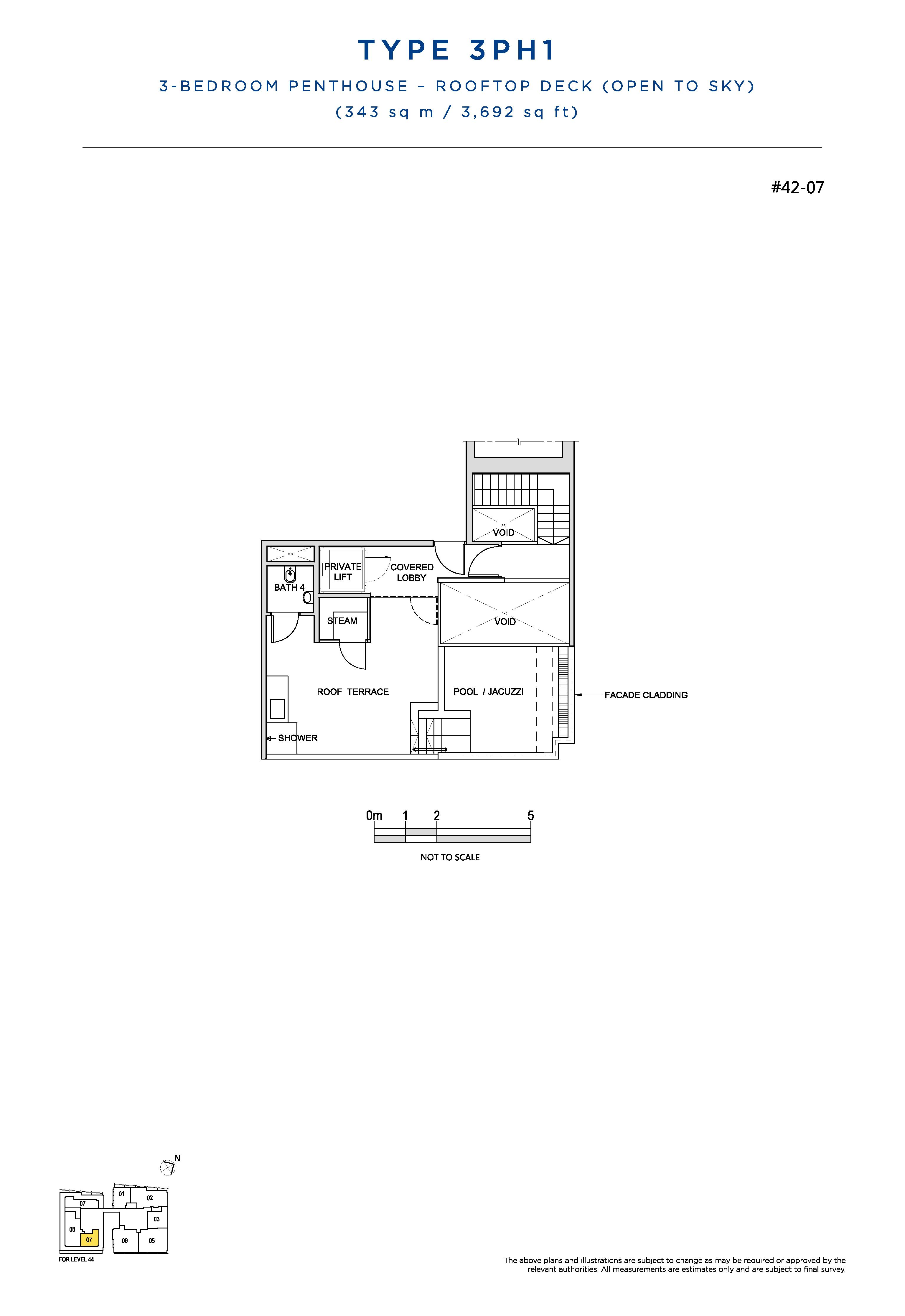 South Beach Residences 3 Bedroom Penthouse Floor Plans Type 3PH1(Rooftop Deck)