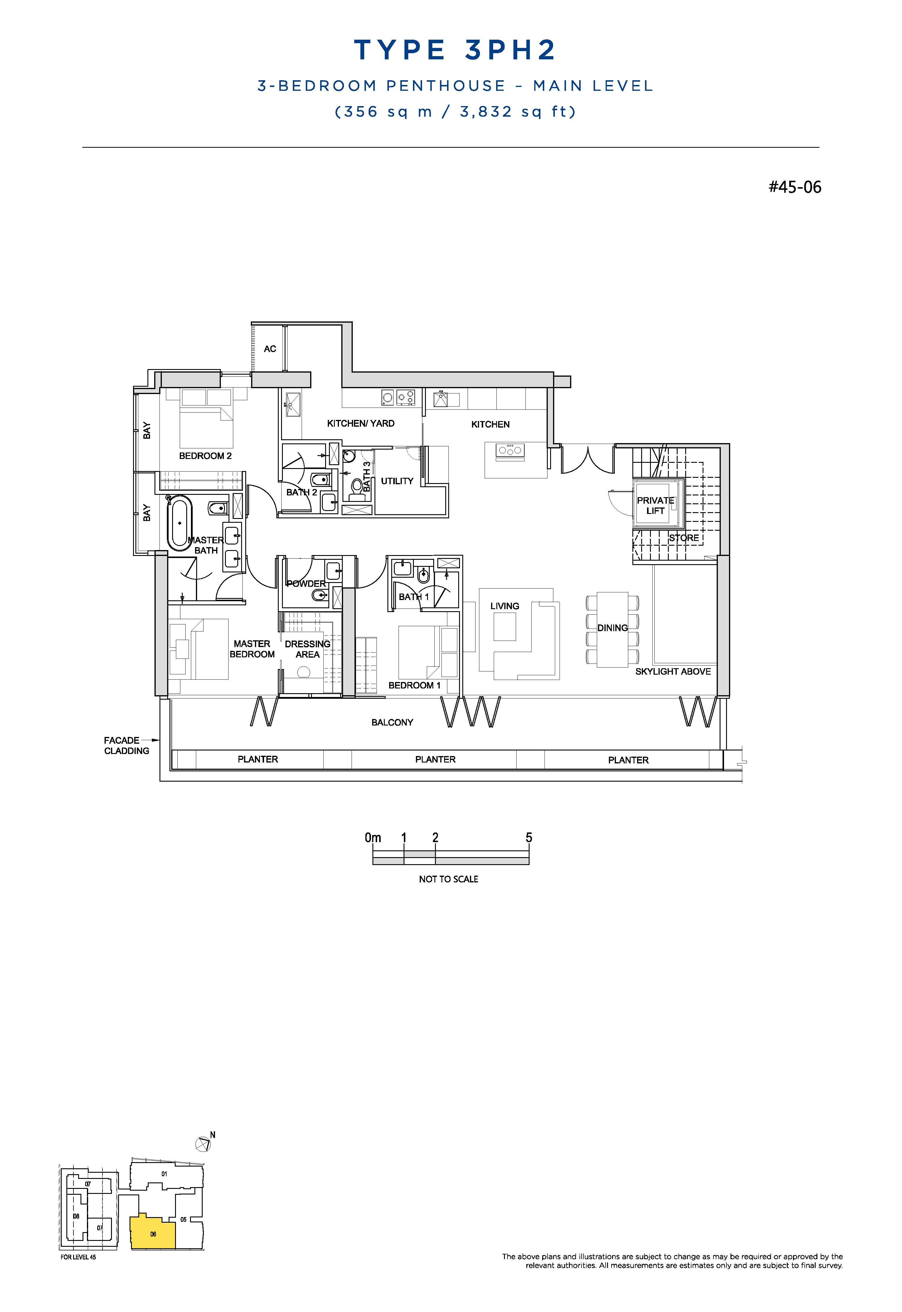 South Beach Residences 3 Bedroom Penthouse Floor Plans Type 3PH2(Main Level)