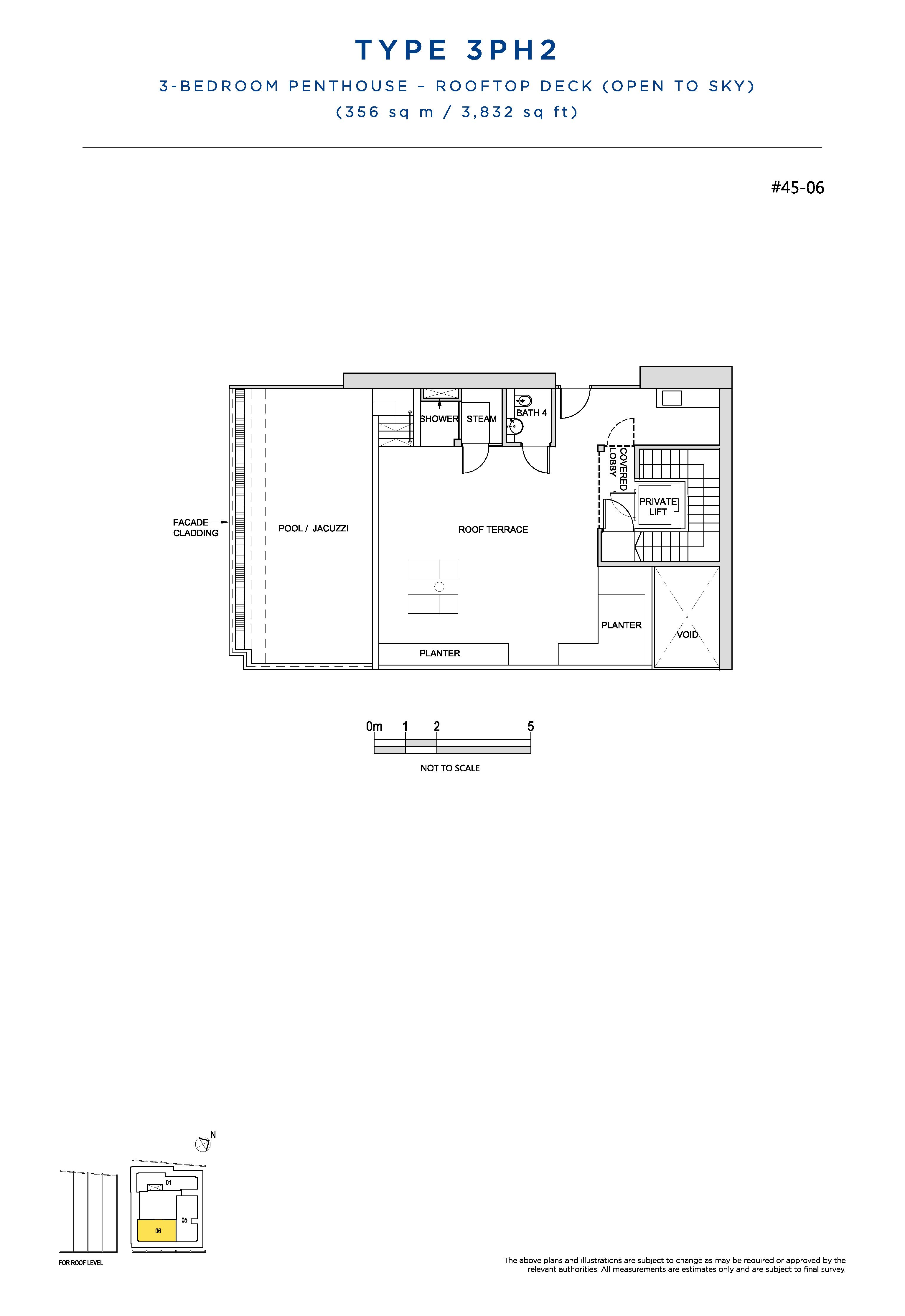 South Beach Residences 3 Bedroom Penthouse Floor Plans Type 3PH2(Rooftop Deck)