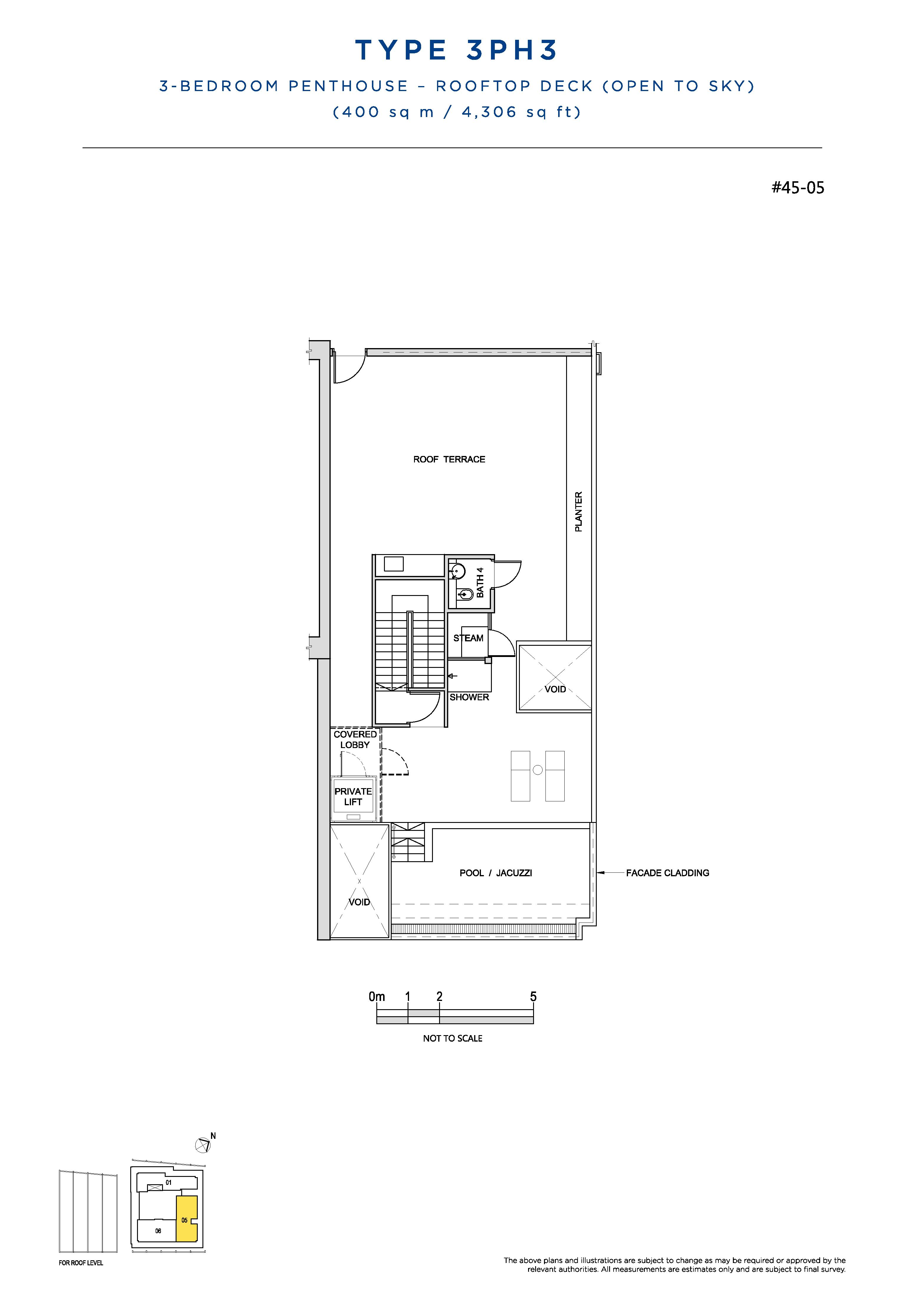 South Beach Residences 3 Bedroom Penthouse Floor Plans Type 3PH3(Rooftop Deck)